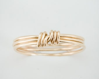 The Knot Ring - Simple gold filled band 3 layer ring wire wrapped with knot