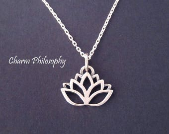 Lotus Flower Necklace - 925 Sterling Silver Jewelry - Mediation and Yoga Necklace - Buddhist Jewelry