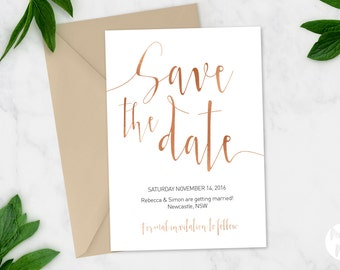 Printable Save the date | Wedding invitation | 'Aurora - Rose Gold' suite