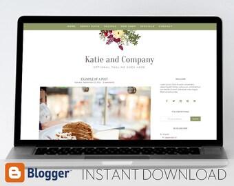 Instant Download: Premade Blogger Template // Mobile Responsive // Burgundy Floral Blog - Katie