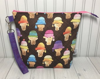 Medium Zipper with Handle Top Knitting Crochet Project Bag - We All Scream For Ice Cream