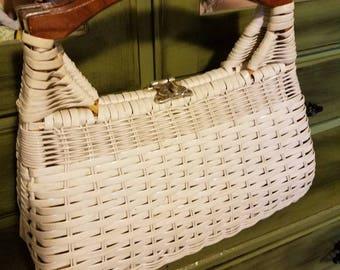 Vintage white plastic rattan purse