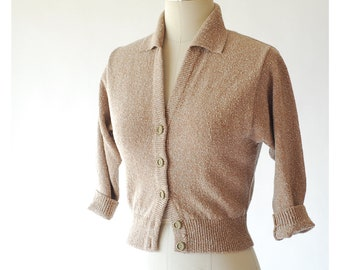 vintage 1950s sweater / 50s oatmeal wool cardigan / size small