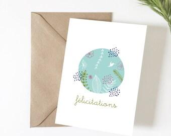 Carte Félicitations, carte de voeux, illustration, carte mariage, carte naissance, papeterie, exotique, fleurs, grossesse