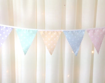 """Mini Bunting Choose your colours paste polka dot mint pink peach blue lilac 4"""" flags from 1 metre, for weddings, bridal & baby showers"""