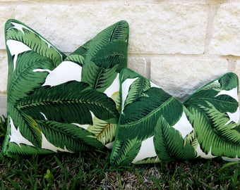 Green Tropical Pillow-Green and White Outdoor Pillow Cover-Tropical Leaf Pillow Cover- Palm Frond Pillow Cover-Tommy Bahama Swaying Palms