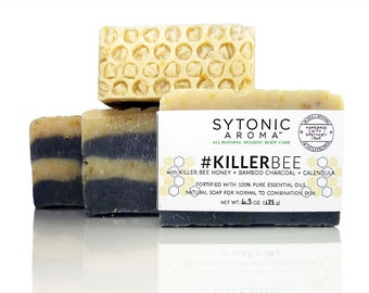 Killer Bee Soap - Killer Bee HONEY + Activated Bamboo CHARCOAL + CALENDULA (6.0 to 6.3 oz.) - All Natural, Handmade Soap