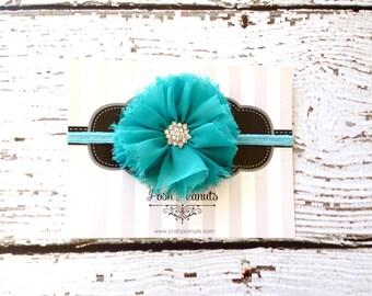 Aqua Turquoise baby headband - baby headband - skinny elastic headband - infant headband - girls headband - flower headband -headband