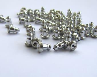 12 Earring Backs Nuts Nickel Free Mechanical Grip Barrel Bullet Clutch