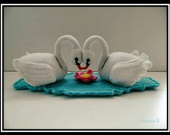 Tutorial PDF crocheted Swan couple