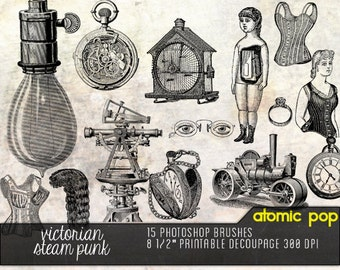 VIctorian Steam Punk Line Drawings Digital Decoupage Printout and Photoshop Brushes Clipart