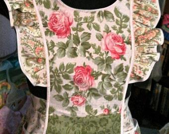 tablier adulte, tablier patchwork, couverture complète tablier, tablier à volants, deux poches, Paneled jupe, taille personnalisée, tablier de style rétro, tablier de femmes