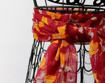 Spring scarves - red chiffon scarf - light weight - chemo head scarf - belt scarf