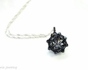black crystal necklace . pendant . swarovski crystal . unique . gift idea . bridesmaid .