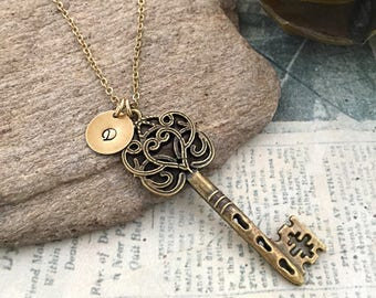 Ornate Key Necklace, Victorian Key Necklace, Initial Necklace, Key Necklace, Friendship Necklace, Hand Stamped, Bridesmaid Gift