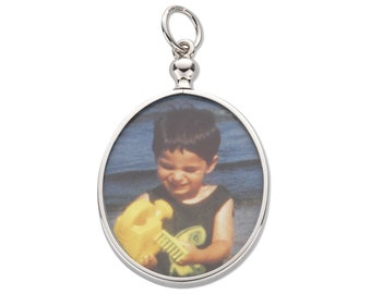 925 Sterling Silver Double Sided 2 Photo Picture Frame Pendant-Oval-Round