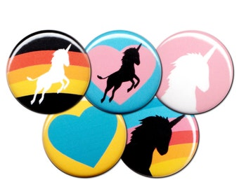 I Heart Unicorns Pin Set of 5 One Inch Pinback Buttons