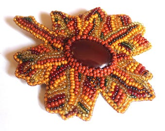 Leaf brooch Nature lover gift Bead embroidered brooch Orange brooch Bead jewelry Brooch handmade Nature jewelry Women brooch Brooch gift