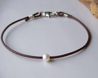 Leather and Pearl Anklet, Freshwater Pearl Anklet, Simple Anklet, Delicate Anklet, Pearl Anklet, Dark Brown Leather, Etsy