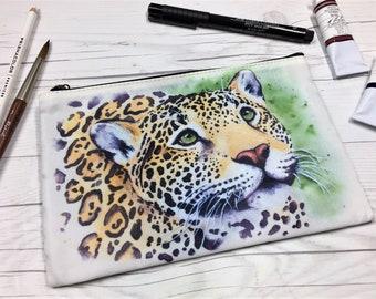 Jaguar Zipper Pouch, Jaguar, Leopard, Watercolor Jaguar, Watercolor, Cosmetic Bag, Watercolors, Travel Pouch, Art Pouch, Art Supply Pouch