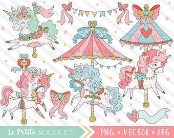 Cute Carousel Clipart Set, Unicorn Graphics, Unicorn Carousel Clip Art, Carnival Unicorns, Kawaii Clipart, Merry-Go-Round State Fair