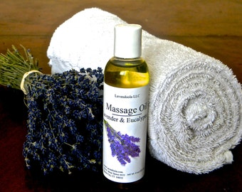 Lavender & Eucalyptus Massage Oil - Soothing, Skin Loving Moisturizers and Nutrients, Relaxing, Stress Reducing, Won't  Feel Greasy!