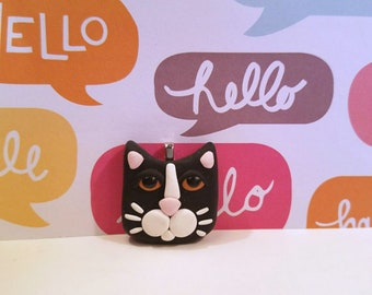 Tuxedo Cat Pendant or Necklace, Cute Cat Jewelry, Black and White Cat, Kitty Face, Cat Lover Gift, handmade polymer clay