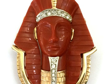 Marcel Boucher King Tut Brooch, Egyptian Revival, Carnelian Red Lucite, Pave Ice Crystals, Gold Tone, Collectible, Signed, Gift for Her