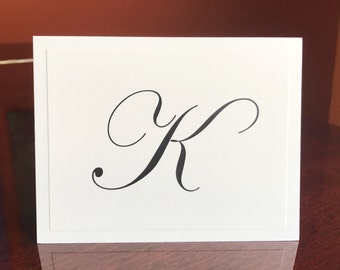 Elegant Personalized Stationery with Initial by Lime Green Rhinestones