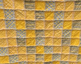"Yellow and Gray Rag Quilt 53""x63"" Handmade, Lap, Throw, Stripes, Polka Dots, Yellow, Gray"
