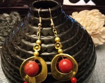 """""""Ethnic"""" golden earrings gold plated hooks"""