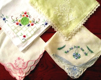 Vintage Hankies, Handkerchiefs, FREE SHIPPING