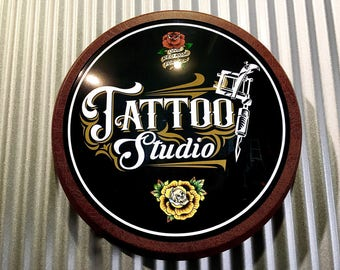 """Tattoo Studio Light Up 12"""" old chrome LED Round Sign.......Our Latest Tattoo Signs"""