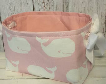 Fabric Organizer Storage Bin Container Basket Pink and white whales with clear grommets for handles 10 x 5.5 x 6