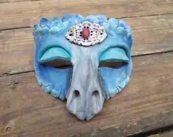 Blue dragon costume mask, hand painted, mardi gras mask, dragon mask, griffon mask, ren faire mask,