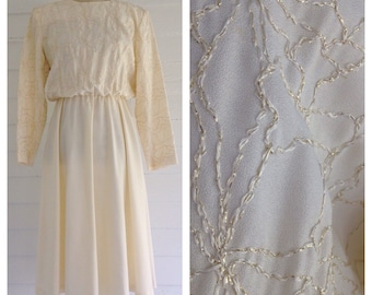 Vintage IVORY 80s Dress with Gold Detail