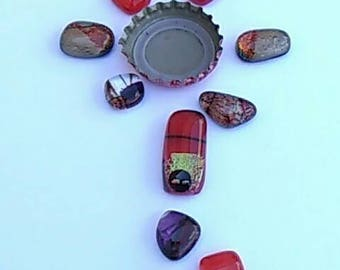 Dichroic glass cabochons in variety of lovely Reds