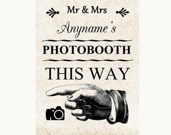 Shabby Chic Ivory Photobooth This Way Left Personalised Wedding Sign