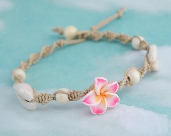 Hemp Shell Anklet,  Beach Anklet, Flower Bead Anklet,  Macrame Anklet, Hemp Jewelry