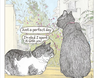 Cats print - 'Perfect day' -  featuring Rafi and Spageti, the famous Israeli cats from Ha'aretz Newspaper Comics