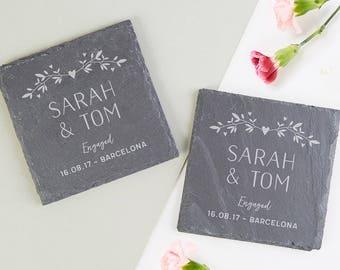 Personalised Slate Coaster Engagement Gift