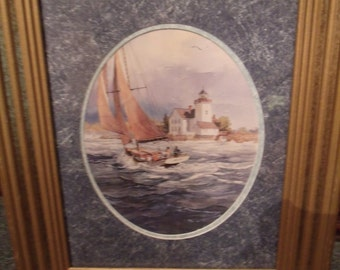 Vintage Sailboat Print with Frame, Home Decor, (# 929/56)