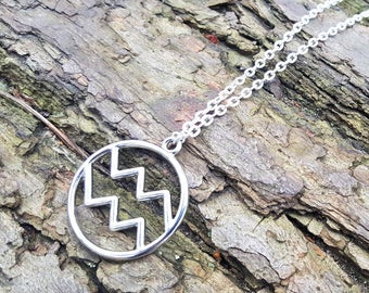 SALE HALF PRICE  Aquarius Starsign Pendant Zodiac Necklace  Silver Gold Womens Gift Aquarius Necklace Gifts for Women