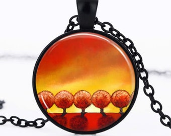 """Sunrise"" necklace abstract pendant Medallion glass cabochon"