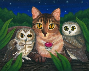 Cat Owls Art Original Cat Painting Saw Whet Owl Abyssinian Cat Art Original Canvas Painting 12x16 Art For Cat Lover