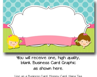 DYI Blank Business Card Template - Little Girls - Made to Match Etsy Sets and Facebook Timeline Covers