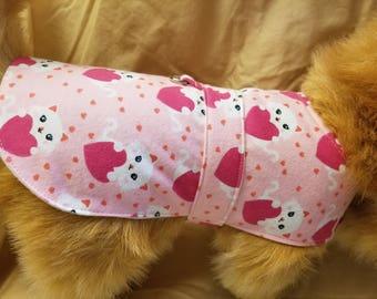 Handmade Pink Kitties and Hearts Dog Coat