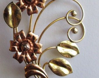 Vintage Pin Brooch Gold Filled Retro Floral Spray flower two-tone