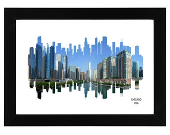 Chicago City Skyline Print with aerial photo