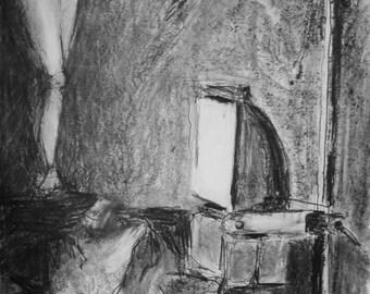 Lamp and model original graphite drawing